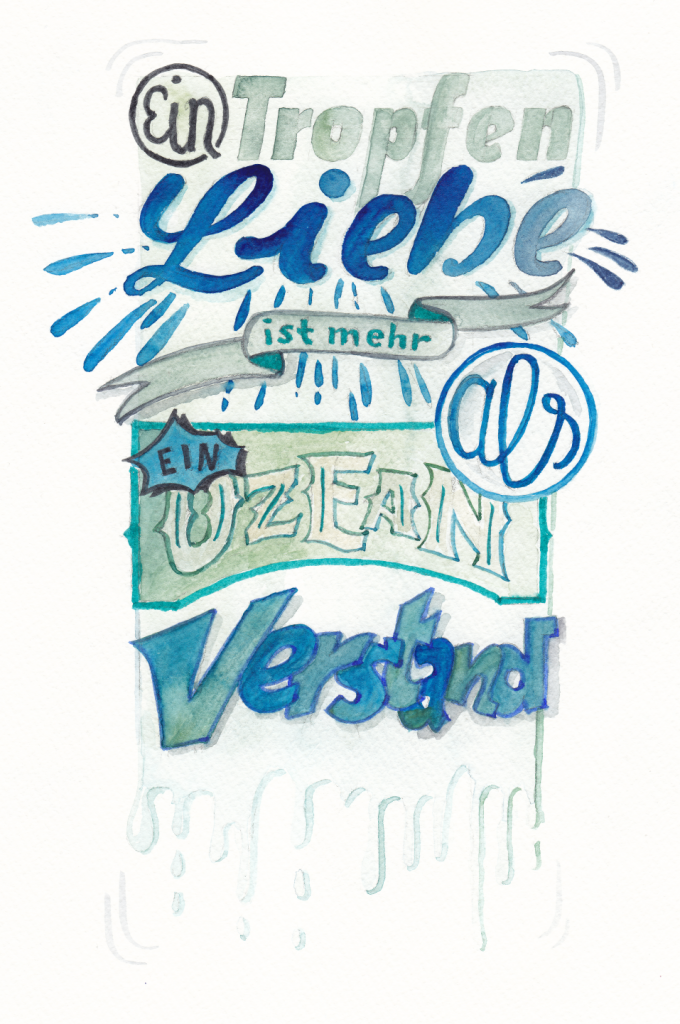 Aquarell Lettering auf rauem Hahnemühlepapier mit einem Zitat von Blaise Pascal